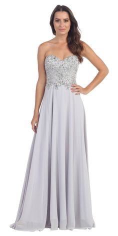 Floor Length Formal Silver Chiffon Gown Strapless Beaded Bodice