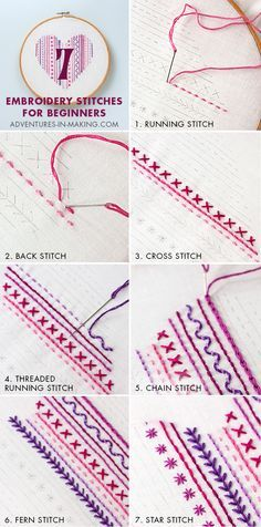 DIY: Heart Embroidery Sampler (For Beginners) | http://adventures-in-making.com/diy-heart-embroidery-sampler-for-beginners/