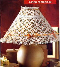 White and orange lampshade with diagram