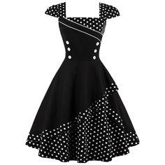 CharMma Womens Vintage Rockabilly Swing Cap Sleeve Polka Dot Tea... ($26) ❤ liked on Polyvore featuring dresses, spotted dress, polka dot dresses, rockabilly dresses, dot dress and vintage rockabilly dresses