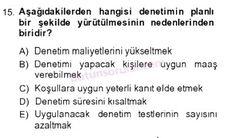 İşletme bölümü, 4. sınıf, DENETİM (isl401u) dersi, 2014 yılı, GÜZ dönemi, ARA SINAV , 15.soru