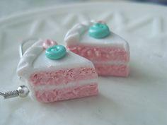 Princess Cake Slice Earrings Miniature Food by fakerybakery2