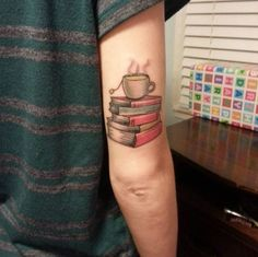 Book and Green Tea Tattoo Design