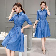 Denim Fashion, Skirt Fashion, Fashion Dresses, Korean Fashion Dress, Modest Fashion, Denim Shirts For Girls, Jeans Frock, One Piece Frock, Tunic Designs
