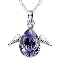 Modogirl Swarovski Elements Crystal Little Angel Style Pendant Necklace for Women lotus purple *** To view further for this item, visit the image link. (This is an affiliate link and I receive a commission for the sales)