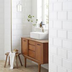 Bathroom wall tiles at Topps Tiles. Free delivery on all samples Modern Bathroom, Small Bathroom, White Bathroom Wall Tiles, Bamboo Bathroom, Eclectic Bathroom, Scandinavian Bathroom, Industrial Bathroom, Master Bathrooms, Bathroom Sinks