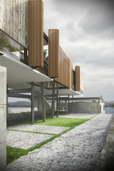 House Porto das Águas on Behance Hotel Room Design, Modern Architecture House, Behance, Beautiful Buildings, Wood Paneling, Stairs, Exterior, Inspiration, Glass Houses