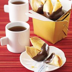 Chocolate-Dipped Fortune Cookies by All You. MyRecipes recommends that you make this Chocolate-Dipped Fortune Cookies recipe from All You