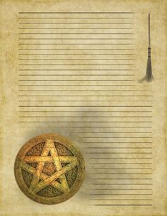 Book of Shadows:  Broom and Pentacle Blank Parchment Page.