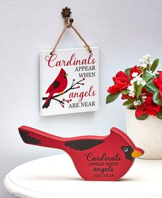 2-Pc. Cardinal Memorial Set|LTD Commodities Ltd Commodities, Home Catalogue, Lakeside Collection, Data Plan, Cardinal Birds, Forced Labor, Hanging Signs, Vintage Lighting, Accent Decor