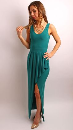 Green Tulip With High Slit Maxi Dress – Elamar