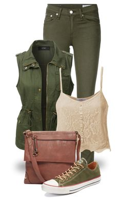 """""""Style It in Green! (outfit only) 2100"""" by boxthoughts ❤ liked on Polyvore featuring rag & bone/JEAN, LE3NO and Converse"""
