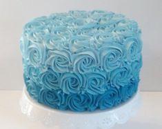 blue ombre swirl cake - Google Search