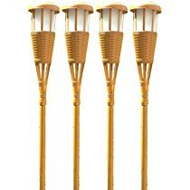 Newhouse Lighting Solar Flickering LED Tiki Torches, Bamboo Finish, 4-Pack