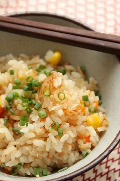 Japanese steamed rice with mixed vegetables