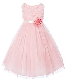 18d8832cc9d OLIVIA KOO Lovely Tulle and Mesh Flower Bodice Flower Girl Dress DUSTY ROSE  8 OLIVIA KOO