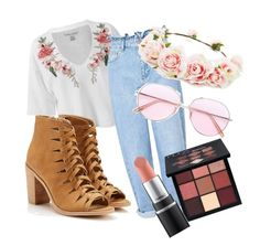 """""""roses are red"""" by stitchllama21 ❤ liked on Polyvore featuring Sans Souci, Miss Selfridge, Forever 21, Oliver Peoples and Huda Beauty"""