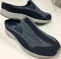 21314897a5c7f5 Easy Spirit Travel Time Womens Navy Blue Glitter Size 9N Slip On Clogs Shoes  #fashion