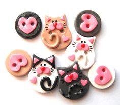 Button Litter of Kittens handmade polymer clay buttons ( 8 )