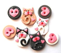Button Litter of Kittens handmade polymer clay buttons ( 8 )