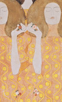 """""""Choir of Angels from Paradise"""" detail from the Beethoven Frieze, Secession Building, Vienna. 1902, Gustav Klimt."""