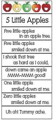 5 little apples in an apple tree song apple activities apple songs apple crafts apple games apple emergent readers Preschool Apple Theme, Preschool Music, Fall Preschool, Preschool Lessons, Preschool Classroom, In Kindergarten, Preschool Apple Activities, Preschool Apples, Montessori Elementary