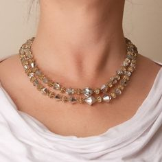 Vintage Two Strand Crystal Necklace by TwiceBakedVintage on Etsy, $27.00