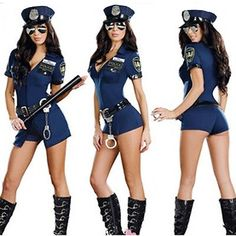 New Sexy Free Size Police Cop Uniform Fancy Dresses Halloween Costumes For Women