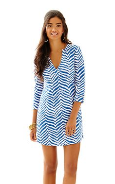 Rossmore V-Neck T-Shirt Dress - Lilly Pulitzer Indigo Zebron Lilly Pulitzer Prints, V Neck T Shirt, Shirt Dress, Resort Dresses, Summer Wear, Clothes For Women, Stylish, My Style, Dress Lilly