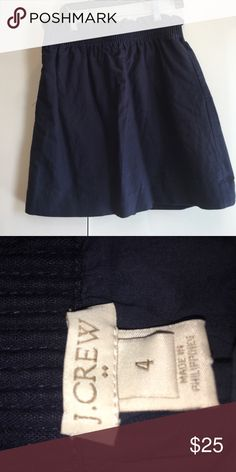 J. Crew skirt Ruffle on the top of waistband skirt. Navy color. A bit high waisted.... come sup to above my knees (and I'm 5'10) great for summer! J. Crew Skirts