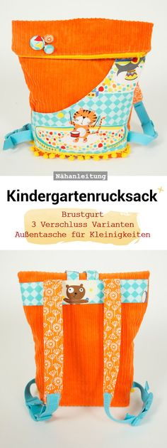 Kindergartenrucksack Nursery backpack, kids bag, foldover bag, sewing instructions and sewing pattern Kangaroo Baby Carrier, Foldover Bag, Diy Backpack, Diy Wallet, Kids Bags, Kids Backpacks, Diy For Kids, Purses And Bags, Messenger Bag