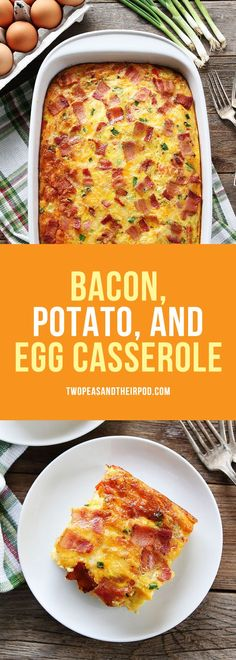 Bacon Potato, and Egg Casserole-this easy breakfast casserole is packed with bacon, potatoes, and cheese! It can be prepared ahead of time and is a real crowd pleaser! #breakfast #casserole #bacon #holidays #eggs