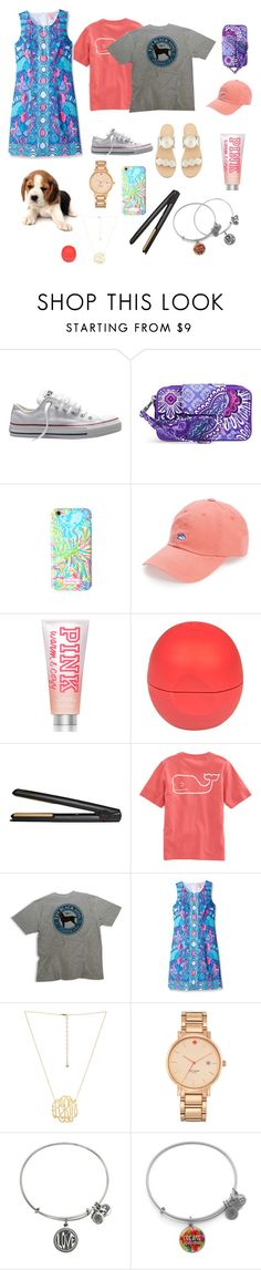 """""""A preppy girl's Christmas """" by zoe02elizabeth ❤ liked on Polyvore featuring Converse, Vera Bradley, Lilly Pulitzer, Southern Tide, Victoria's Secret PINK, River Island, GHD, Vineyard Vines, Kate Spade and Alex and Ani"""