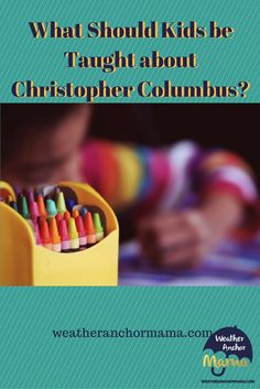 Our son came him with his Christopher Columbus artwork. The moment sparked a history lesson about the real story behind Columbus. Christopher Columbus For Kids, Parenting Articles, 4 Year Olds, In This Moment, Teaching, History, School, Artwork, Historia