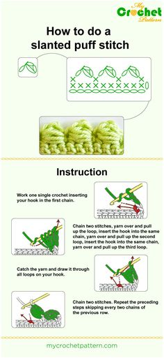how to do a slanted puff stitch - infographic