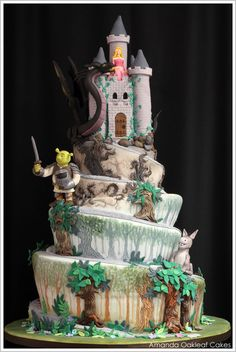 Shrek Cake by Amanda Oakleaf Cakes. This would be a perfect addition to a Broadway musical themed SHREK party!