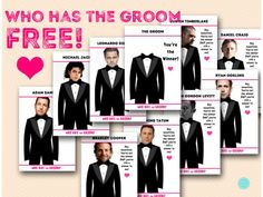 Who has the Groom Game - Bridal Shower Ideas Free Who Has The Groom Bridal Shower Game Printable BacheloretteFree Who Has The Groom Bridal Shower Game Printable Bachelorette Free Bridal Shower Games, Bridal Games, Printable Bridal Shower Games, Wedding Shower Games, Bridal Shower Party, Wedding Games, Wedding Day, Bridal Showers, Wedding Stuff