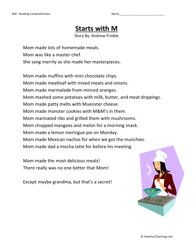 Second Grade Reading Comprehension Worksheet - Starts With M
