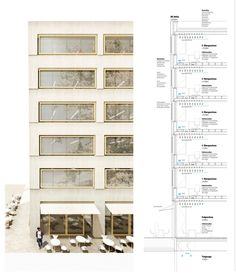 Be inspired by interesting architectural drawings. Facade Architecture, Beautiful Architecture, Building Skin, Planer Layout, Green Facade, Architecture Presentation Board, Window Detail, Architectural Section, Architectural Drawings