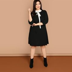 81f7b86627d Preppy Style Black Peter Pan Tie Neck Collar Straight Dress with Three  Quarter Sleeve-Plus