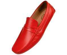 Amali Mens Red Textured Smooth Penny Loafer Driving Shoe: Style Donner-005This Classic Style Driving Shoe is a Sleek addition to any outfit!Slip your feet into a pair of Comfortable AND Fashion Forward Footwear!High Quality Manmade Microfiber Upper
