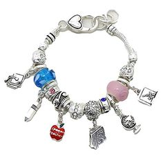 Teacher Charm Bracelet C57 Blue Pink Crystal Murano Beads ** You can get additional details at the image link.(This is an Amazon affiliate link and I receive a commission for the sales)