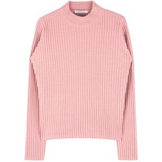 365 BASICHigh Neck Ribbed Knit Long Sleeve Top | mixxmix ($21) ❤ liked on Polyvore featuring tops, rib knit top, long sleeve tops, ribbed knit top, high neck top and bunny top