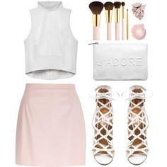 River Island Light Pink leather-look A-line skirt by goldiloxx on Polyvore featuring River Island, Aquazzura, Miss Selfridge, AERIN, Isis and Revlon