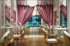 its a pink victorian salon...i just died and went to glam heaven. Gold & rose