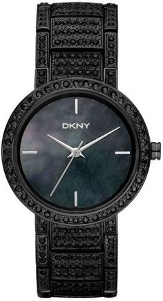 DKNY Glitz Black Large Round Bracelet Mother-of-pearl Dial Women's watch #NY8056 DKNY. $199.00