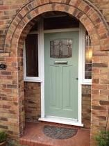 We have just installed a Rock door composite door in the new shade off Chartwell Green as shown below. This range of composite doors from Rockdoor have the look of a traditional wooden door but actually have a UPVC skin which never requires painting. Front Door Porch, Porch Doors, House Front Door, Glass Front Door, Entry Doors, Brick Porch, House Porch, Front Porches, Glass Doors