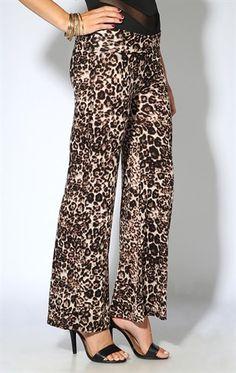 Deb Shops cheetah printed knit palazzo pants $14.17