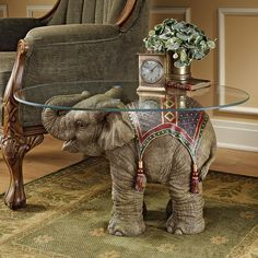 Design Toscano Jaipur Elephant Festival Indian Decor Coffee Table with Glass Top, cm, Polyresin, Full Color