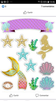 Birthday Party Decorations, Birthday Parties, Cake Designs For Girl, Free Label Templates, Mermaid Cakes, Fondant Toppers, Paper Crafts For Kids, Mermaid Birthday, The Little Mermaid